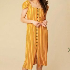 nwt altar'd state button midi dress in mustard xl